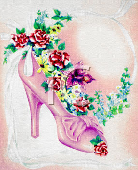 Vintage Wedding-Bride Shoe with Roses