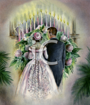 Vintage Wedding-Couple at the Alter