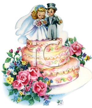 Vintage Wedding-Bride and Groom Topper on a Wedding Cake