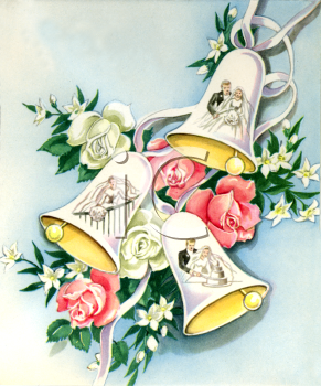 Royalty Free Clipart Image Vintage Wedding Bells With Roses