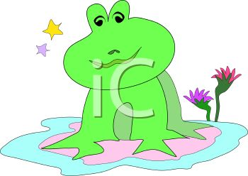 Cartoon Frog Sitting on a Lily Pad