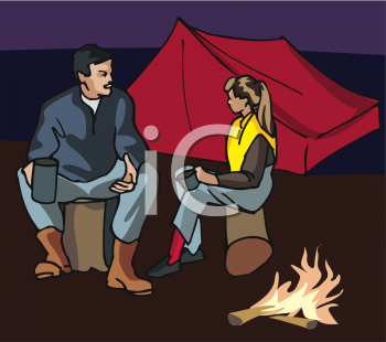 Two People Camping at Night