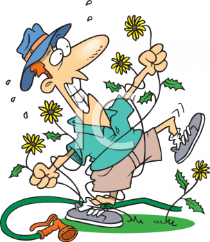 Man Fighting with Weeds in His Yard