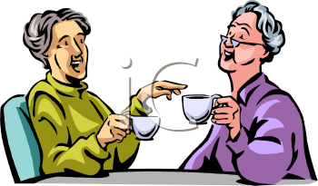 Old Women Drinking Tea and Gossiping