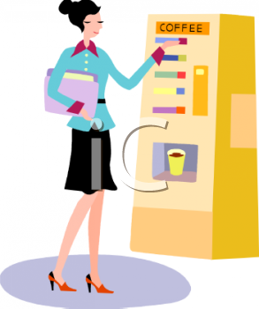 Businesswoman Getting Coffee from a Vending Machine