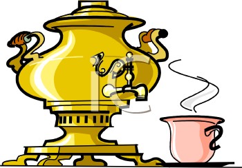 Gold Urn with a Spigot with a Cup of Coffee