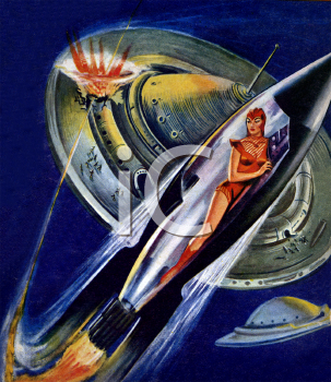 Futuristic Space Woman and Flying Saucers