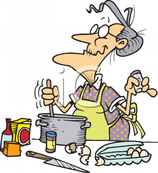 Cartoon of a Gramdma Baking