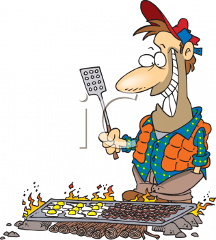 Cartoon of a Man Cooking Breakfast on a Camping Trip