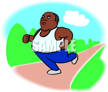 Overweight African American Man Running in the Park