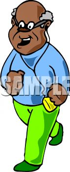 Man running while listening to music royalty free clip art image
