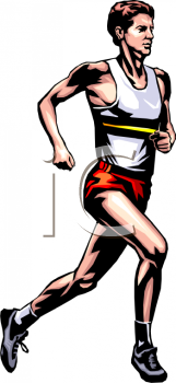 Royalty Free Clip Art Image: Man Running in a Race