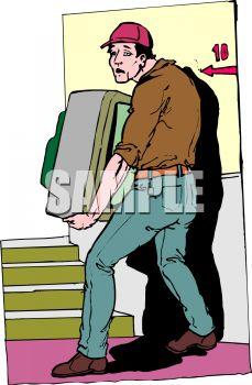Mover Carrying a TV Up Stairs