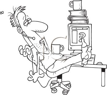 Black and White Cartoon of a Customer Service Person at His Desk