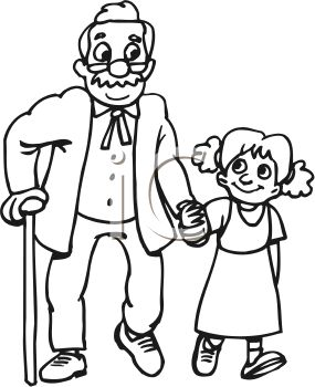 Black and White Cartoon of a Little Girl Helping an Old Man Cross the Street
