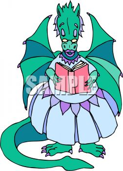 Mother Dragon Reading a Storybook
