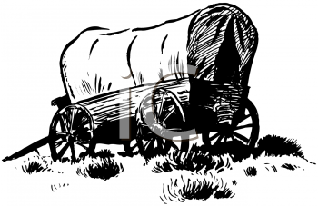 Black and White Covered Wagon