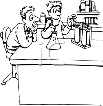 black and white cartoon of lab partners doing a science experiment rh clipartguide com science lab safety clipart science lab clipart black and white