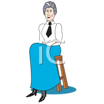 Schoolmarm Sitting on a Stool