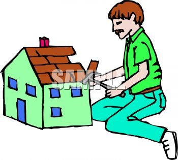 Royalty Free Clipart Image Man Building A Dollhouse