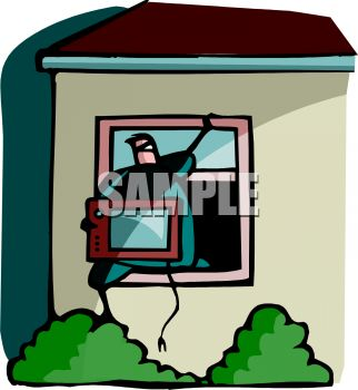 House Burglar Climbing Out a Window with a TV