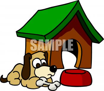 0511-0908-3004-1263_Cartoon_of_a_Dog_Sitting_Outside_His_Doghouse_clipart_image.jpg