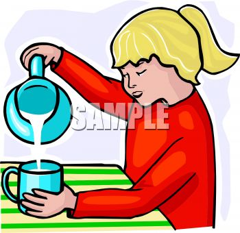 Girl Pouring Milk Into a Cup