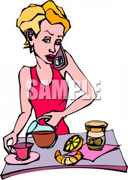 Woman Talking on the Phone While Pouring a Cup of Coffee