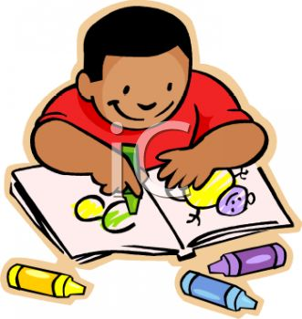 Royalty Free Clip Art Image African American Boy Coloring With Crayons