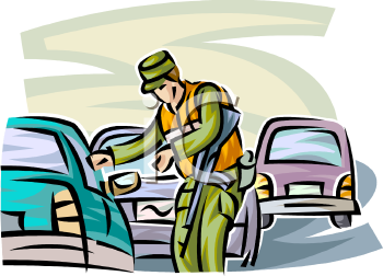 Military Police Officer Stopping Vehicles