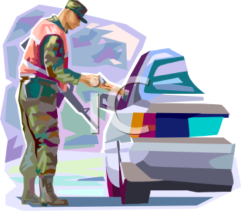 Military Cop at a Vehicle Check Point