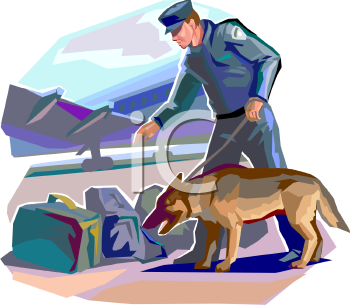 Policeman and His Dog Searching Luggage at an Airport