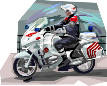 Motorcycle Cop - Royalty Free Clip Art Picture