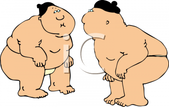 Cartoon of Two Sumo Wrestlers Facing Each Other