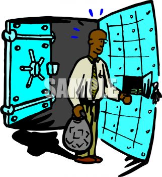 African American Man Putting Money Into a Safe Deposit Box Inside a Safe
