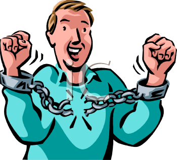 Man Breaking the Chain on Handcuffs