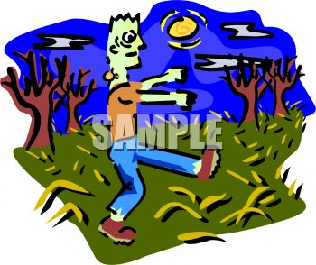 Zombie Walking Across a Field