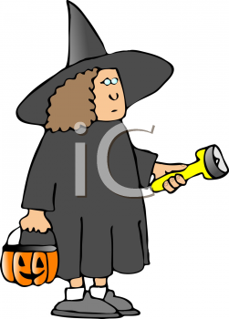 Child Wearing a Witch Halloween Costume