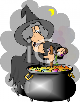 Cartoon of a Witch Adding Ingredients to Her Cauldron