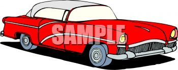 Royalty Free Clip Art Image: Classic Car: Red Fifties Style Car