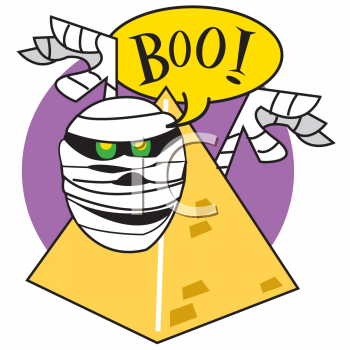 "Sppoky Halloween Mummy Saying ""Boo"""