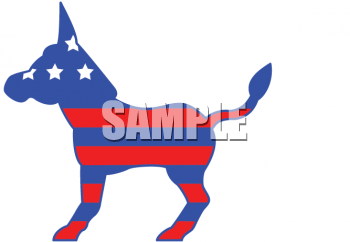 Political Party Symbol - The Democrat Donkey in Red, White and Blue