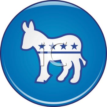 Political Party Symbol - The Democrat Donkey Button