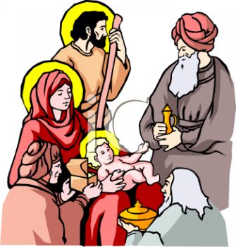 Nativity Scene - Father, Mother, Baby Jesus and Wise Men - Royalty ...