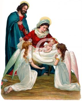 Mother Mary and Angels with Baby Jesus
