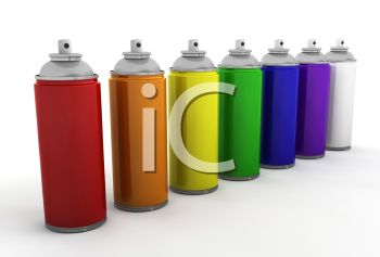 Cans Of Spray Paint In Different Colors