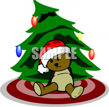 Teddy Bear Wearing Santa Hat Leaning on Christmas Tree