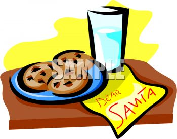 Plate Of Cookies And Glass Of Milk For Santa