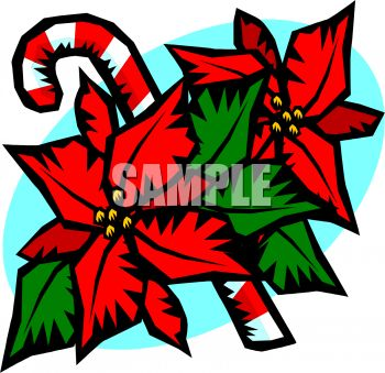 Candy Cane With Poinsettia Flowers
