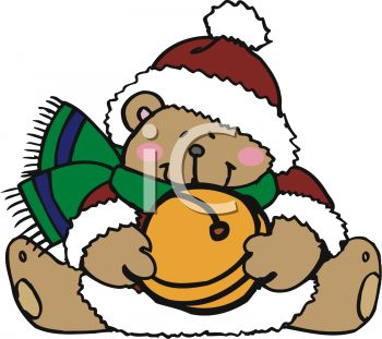Christmas Bear Holding Jingle Bell
